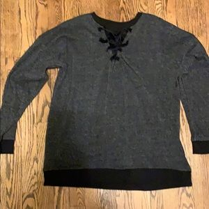 Black sweater with lace detailing